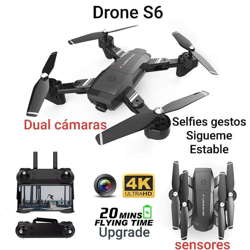 Drone S6 Doble Camara 4k Wifi 20 Min Sensores Sigueme 120 Metr upgrade