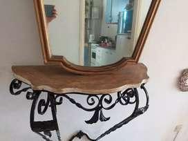 Dressoir en hierro + espejo vintage