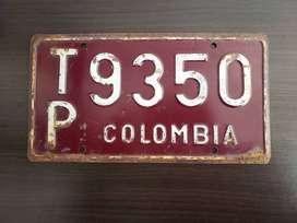Placa Antigua De Carros De Colombia 90´s