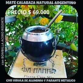 MATE CALABAZA NATURAL ARGENTINO con BOMBILLA ACERO RESORTE!