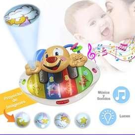 Piano didáctico para bebés con luces, sonido y proyector