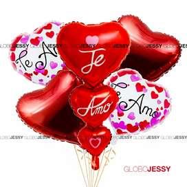 Globos San Valentin paquete de globos Te amo 7 globos