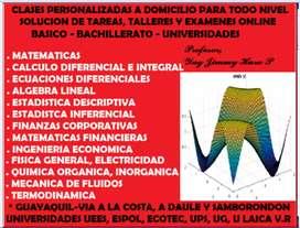 PROFESOR, CLASES PARTICULARES DE CALCULO DIFERENCIAL, INTEGRAL, ECUACIONES DIFERENCIALES, MATEMATICAS, ESTADISTICA