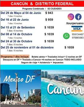 oferta de viaje a DISTRITO FEDERAL Y CANCUN 2 destinos en 1 solo viaje