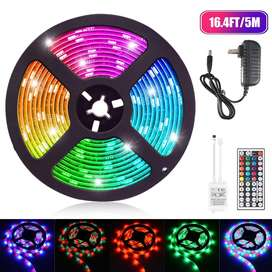 Cinta de luces LED RGB 5050 de 5 m, con los colores mas potentes ,  con control y batería