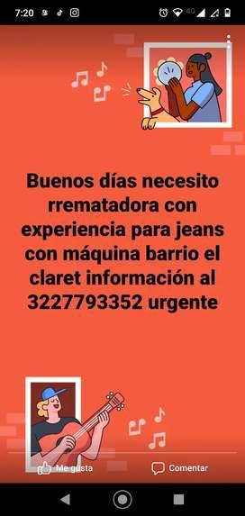 Necesito urgente rematadora para jeans con máquina pago al destajo