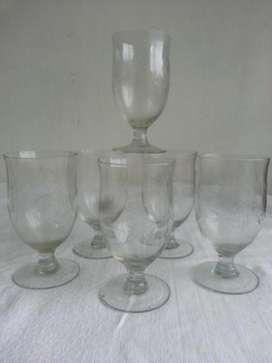 Antiguas copas cristal tallado