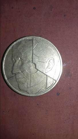Moneda de 5 francos belgas 1986.