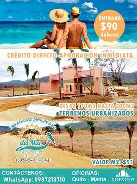 CREDITO DIRECTO-SIN GARANTE, TERRENOS PLAYEROS, INVIERTE HOY MISMO, 90 USD DE ENTRADA,TERRENOS DESDE 155M2,PUERTO CAYOS1
