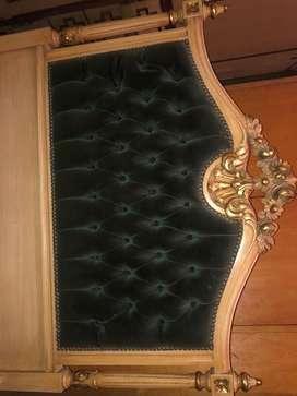 Dressoire, cama y mesa de luz estilo Luis XVI tallado por ebanistas (Juego de dormitorio)