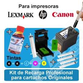 Cartuchos Hp Canon lexmark, Kit de recarga profesional