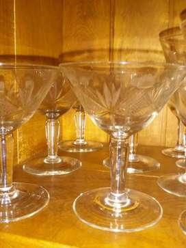 Copas cristal tallado Lote 17 piezas