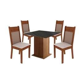 Juego de comedor Denver en madera con mesa de vidrio negro