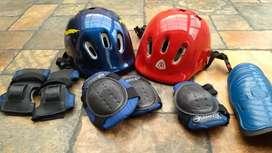 Cascos deportivos, Usados para niños, rodilleras y espinilleras