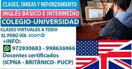 CLASES, TAREAS Y REFORZAMIENTO DE INGLÉS