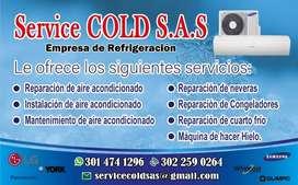 Reparación, instalación y mantenimiento de aires acondicionados y neveras
