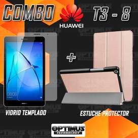 Kit Vidrio Cristal Templado Screen Protector y Estuche Forro Case Acrílico y Sintético Huawei T3 8 KOB-W09
