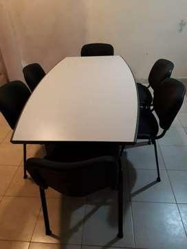 Mesa para oficina mas 6 sillas