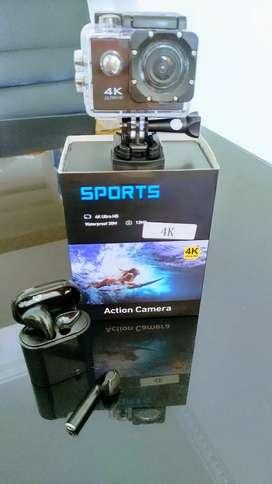 Camara deportiva 4K wifi + audífonos inalambricos