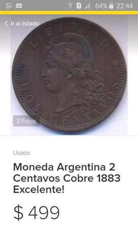 VENDO MONEDA ANTIGUA.IDEAL PARA COLECCIONISTAS.AÑO 1883.SIN DETALLES