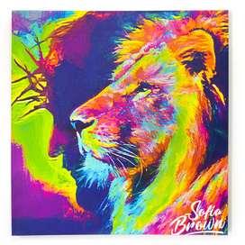 Hermoso! Cuadro moderno León Colores