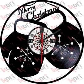 Reloj en disco LP Navidad/ vinyl clock Merry christmas