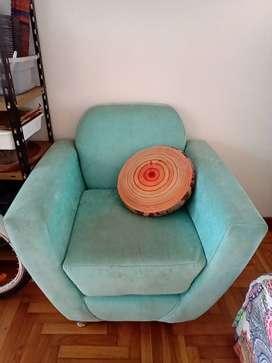 Sillón de Diseño Turquesa Una Plaza Sólo detalles en el tapizado