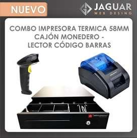 Impresora termica 58mm - cajon monedero - lector codigo de barras