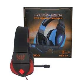 Audífonos gamer G4000 kotion each pro rojo y azul