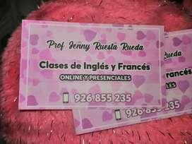 Clases de ingles y francés on line