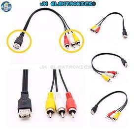 Cable Adaptador RCA a USB 2.0 25cm Alta Calidad, 3RCA A/V Macho USB hembra