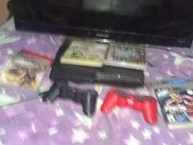 Vendo play 3 con juegos 2 jostyck accesorios y led tv Noblex