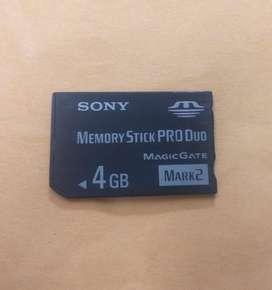 MEMORIA SONY PRO DUO DE 4GB PARA CÁMARA, PSP Y FILMADORA (VIDEOCAMARA) - ORIGINAL