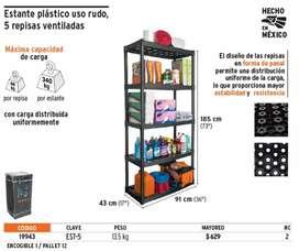 Oferta de estante plástico de 5 repisas