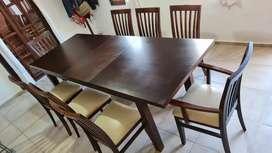 Mesa extensible con 8 sillas