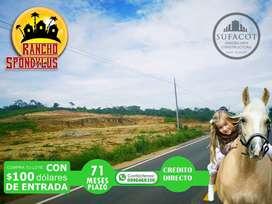 QUINTAS VACACIONALES RANCHO SPONDILUS TE OFRECE TERRENOS DESDE 1.000M2 SOLO CON 100 USD DE ENTRADA A 71 MESES | SD2