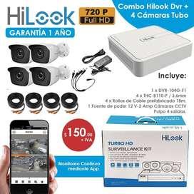 camaras de seguridad hilook/combo 4 camaras hilook 720p/ kit camaras de seguridad