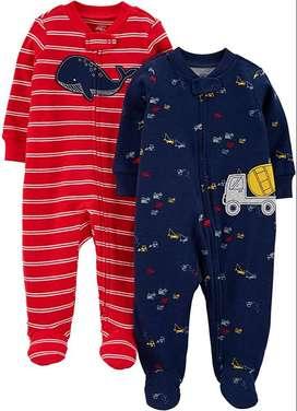 Set 2 Pijamas Enterizas con Pies Carter's Red Whale / Play Construction – Bebé Niño