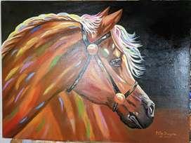 Cuadro sobre lienzo pintado al oleo - Caballo Arte Pop
