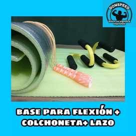 Colchoneta + base para flexiones de pecho + lazo