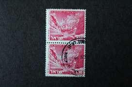 BLOCK 2 ESTAMPILLAS ISRAEL, 1972, PAISAJES, AVEDAT, USADAS EN PERFECTO ESTADO Y SIN RASTRO DE BISAGRA