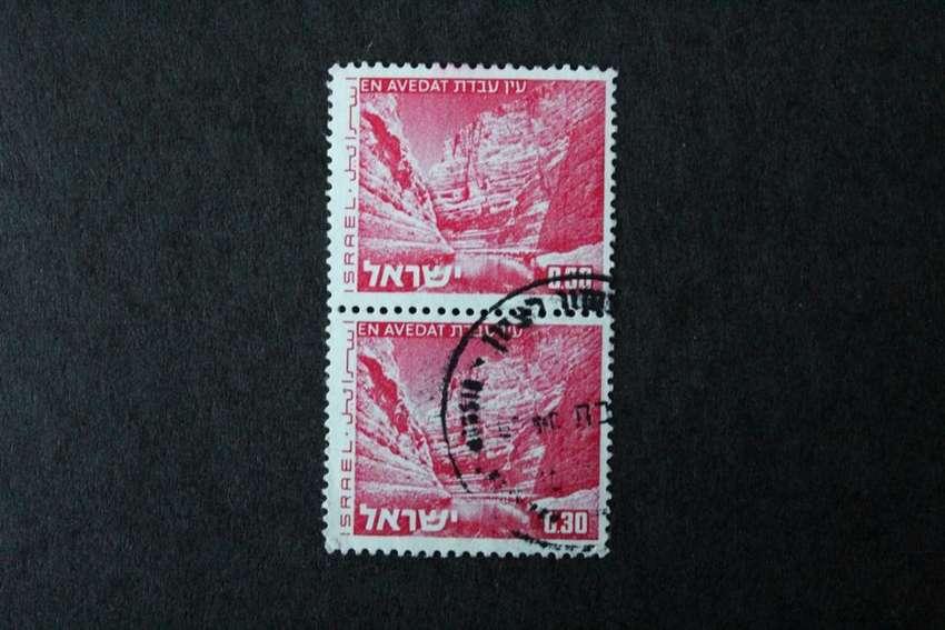 BLOCK 2 ESTAMPILLAS ISRAEL, 1972, PAISAJES, AVEDAT, USADAS EN PERFECTO ESTADO Y SIN RASTRO DE BISAGRA 0