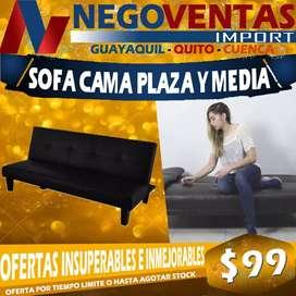 SOFA CAMA PORTATIL DE CUERINA PLAZA Y MEDIA COLOR NEGRO
