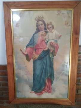 Antiguo Cuadro Con Virgen Maria Auxiliadora