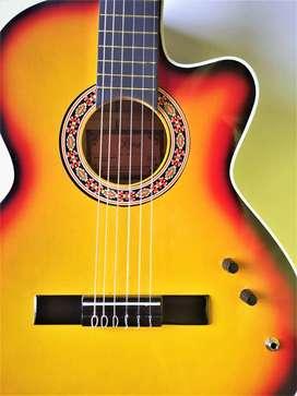 Guitarra Electroacústica + correa con pines + forro en lona