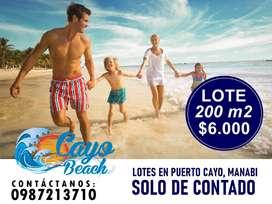 Remate de Lotes Playeros, Terrenos 200m2 a 6.000 Usd, Puerto Cayo a 15 min de ¨Los Frailes¨, Solo de ContadoSD1