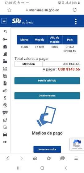 Vendo moto Tuko CR5 200cc año 2016  caida revicio i matricula ce deve 150 dolares
