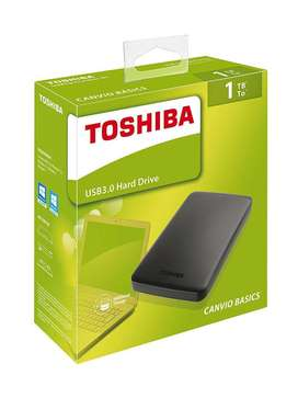 DISCO EXTERNO TOSHIBA 1 TERA CANVIO BASIC USB 3.0 Original. Color Negro