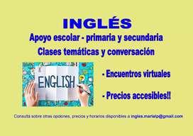 Inglés: apoyo escolar, clases virtuales temáticas y de conversación. Traducciones
