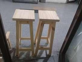 2 taburetes de pino de 75 cm